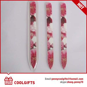 Tempered Glass Nail Files with Crystal and Diamond Flower Decoration pictures & photos