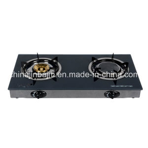 2 Burners Tempered Glass Top 100#Aluminum Burner Gas Cooker/Gas Stove pictures & photos