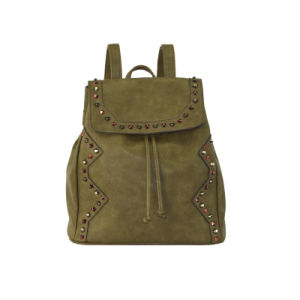 Hot Ladies PU Backpack Army Green Studded Daypack Zxl048 pictures & photos