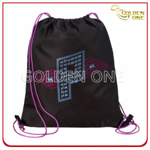 Factory Supply Two-Tone Printed Nylon Drawstring Bag pictures & photos
