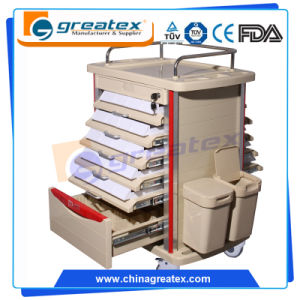 Ce ISO Double Side Movable Hospital Medical ABS Medicine Trolley