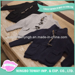 Children′s Knitted Sweaters Pattern Black Hand Knitted Cardigans