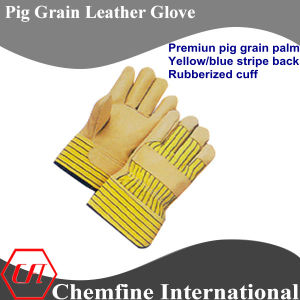 Rubberized Cuff, Full Palm, Yellow Pig Grain Leather Work Gloves pictures & photos