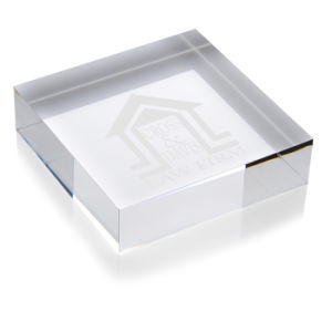 Square Crystal Paperweight for Award