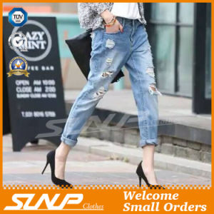 Custom Girl Long Ripped Cotton Fashion Jeans Clothing