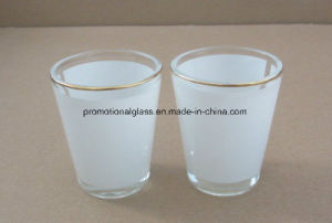 1.5oz Sublimation Shot Glass with White Panel, Gold Rim