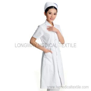 White Color Nurse Uniform for Summer (HX-1016)