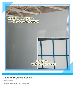 Decorative White Lacquered Glass Ral9003/Ral9010 pictures & photos