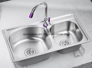 Stainless Steel Handmade Kitchen Sink with Soap Container (QW-M7843)