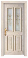 European Simple Classic Design with Glass Window Solid Wooden Door pictures & photos