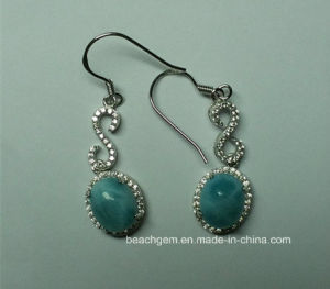 Natural Larimar Sterling Silver Earrings (E0164)