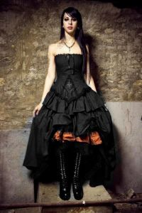 China Vintage Vampire Cross Corset Black Gothic Wedding Dresses New ...