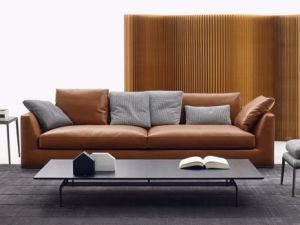 Modern Italian Leather Chesterfield Leather Sofa Set for Home (LS-006)
