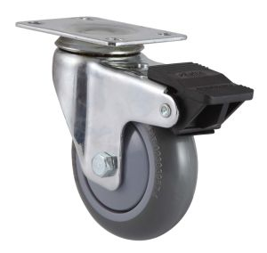 Swivel PU Caster with Dual Brake (Gray) pictures & photos