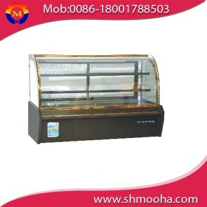 2.1m Curved Front Marble Base Black Color Refrigerated Cake Showing Case Cabinet pictures & photos