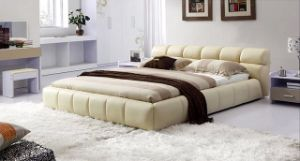 2015 New Leather Bed, Hot Sale Italy Bedroom Design, Single, Double, King Size, High Grade Bed, Villadom Bed