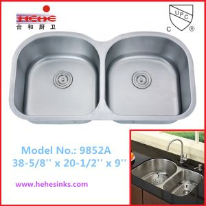 Cupc Recognized Equal Double Bowl Stainless Steel Kitchen Sink (9852) pictures & photos