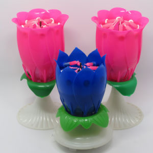 Colorful Fancy Flower Opening Birthday Cake Candles pictures & photos