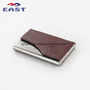 2016 Custom PU Leather Metal Business Name Card Case