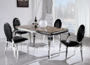 China Modern Marble Glass Stainless Steel Frame Dining Table For