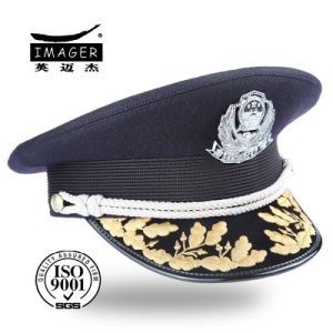 Wholesale Picked Military Uniform Cap with Pattern pictures & photos