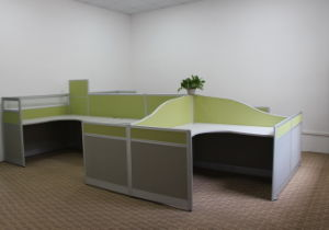 Modern Type Office Workstation with Curved Partion Panels and Fabric Surfaced