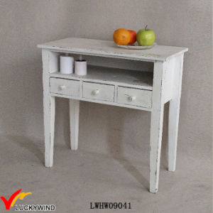 3 Drawers Shabby Wood Console Table White pictures & photos