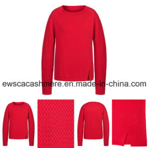 Lady Weaving Patterns Long Sleeves Pure Cashmere Knitwear