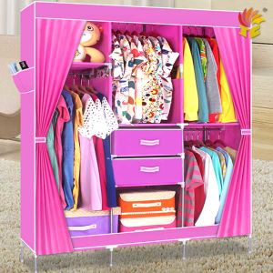 Fabric Wardrobe with Two Cabinet