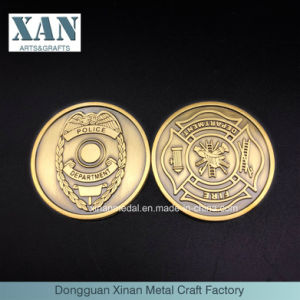 Custom Zinc Alloy Antuque Gold Police Coin Souvenir