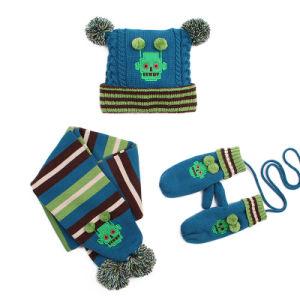 47bbaf226e4 Kids Baby Unisex Children Boys Girls 3PC Winter Cable Twist POM POM Beanie  Scarf Long Gloves