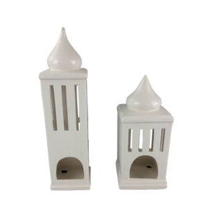 High Quality High-Rise Shape Ceramic Candle Holder House pictures & photos