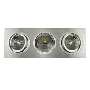 Lathe Aluminum 3 Units AR111 Square Tilt Multi-Angle Recessed LED Down Light (LT2307-3) pictures & photos