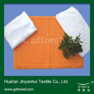 Cotton Thick Bath Mat Solid Jacquard Logo Pattern Custom Top Grade Hotel Floor Towel