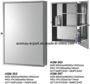 Stainless Steel Mirror Cabinet with One Door (ASM-353)