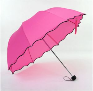 3 Fold Umbrella with Flower in Rain (LGUD14025)