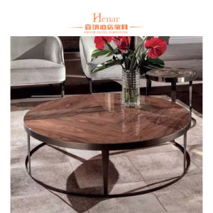 China Round Marble Coffee Table With Stainless Steel Black Finish