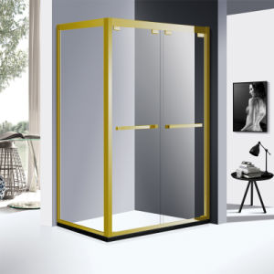 Rectangle 304 Stainless Steel Profile Corner Shower Enclosure with Two Sliding in Gold Color