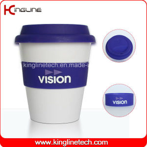 Wholesale 350ml Silicone Coffee Cup with Sillicone Band and Cover (KL-CP005) pictures & photos