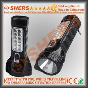 Rechargeable 1W LED Flashlight with 12 LED Reading Lamp (SH-1913)