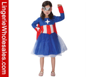 Girls Classic Captain America Cosplay Halloween Party Dress Costume
