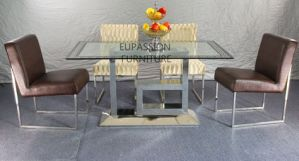 Modern Designed Stainless Steel Glass Dining Table