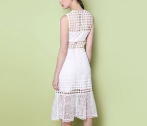 Pure White Long Couture Geometrical Pattern Fishtail Ladies Dress pictures & photos