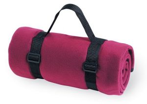 Promotional 100 %Polyester Polar Fleece Travel Blanket with Handle