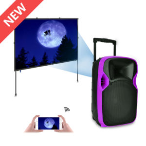 Best Trolley Portable Battery Powered Speaker with LED Projector