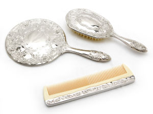 Lady Gift Set Fancy Silver Comb+Mirror+Brush with Handle