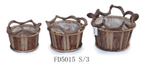 2017 Manufacturer Natural Round Wooden Flower Pot with Lining for Home and Garden Decoration