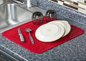 OEM Various Sizes Safe Silicone Kitchen Microfiber Dish Drying Mat Custom  Logo