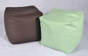 Faux Leather Cube Pouf Puf Sitzsack
