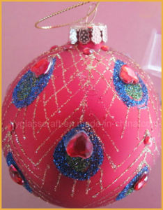 2016 Hot Sale Hand-Painted Christmas Decoration with Peacock Pattern pictures & photos